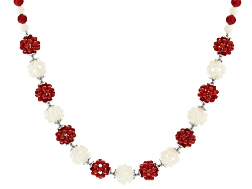 Photo of 6mm round and 3mm round knitted ball, red and white coral, sterling silver bead necklace - Size 20