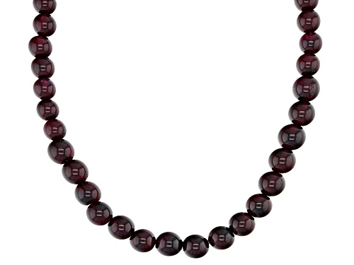 Photo of 137.20ctw graduated 4mm-6mm round raspberry color rhodolite bead strand, sterling silver necklace - Size 19