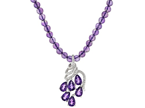 Photo of 2.25ctw pear shaped, round amethyst with 0.38ctw round zircon rhodium over sterling silver necklace - Size 20