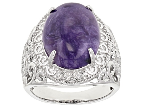Photo of 16x12mm Oval Cabochon Charoite Rhodium Over Sterling Silver Solitaire Ring - Size 8