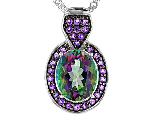 Photo of 3.87ct Mystic Fire® Green Topaz with .35ctw African Amethyst Rhodium Over Silver Pendant with Chain