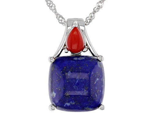 Photo of Square Cushion Lapis Lazuli & Pear Shape Red Coral Rhodium Over Silver 2-Stone Pendant W/Chain
