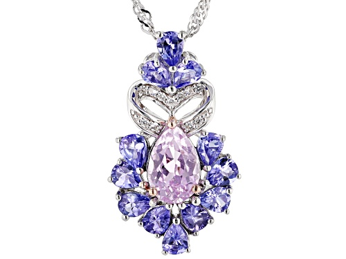 Photo of 1.65ct Kunzite with 1.63ctw Tanzanite and .07ctw White Zircon Rhodium Over Silver Slide with Chain