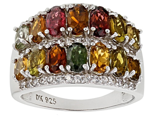 Photo of 2.36ctw Oval Mixed Multi-Tourmaline with .65ctw Round White Zircon Rhodium Over Silver Band Ring - Size 8