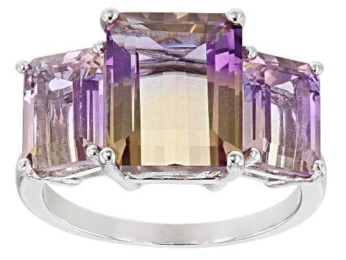 Photo of 6.21ctw Emerald Cut Ametrine Rhodium Over Sterling Silver 3-Stone Ring - Size 7