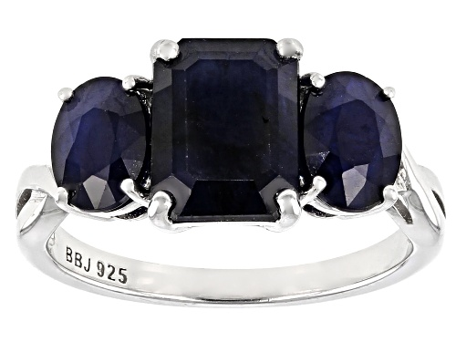 Photo of 3.75ctw Emerald Cut and Oval Blue Sapphire Rhodium Over Sterling Silver 3-Stone Ring - Size 7
