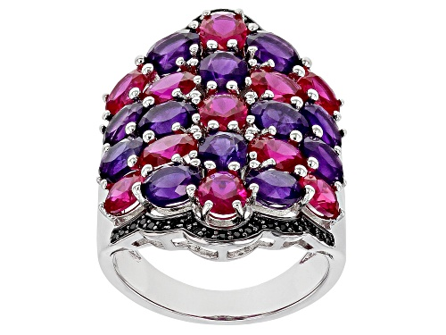 Photo of 3.57ctw African Amethyst, 3.49ctw Lab Created Ruby & .26ctw Black Spinel Rhodium Over Silver Ring - Size 7