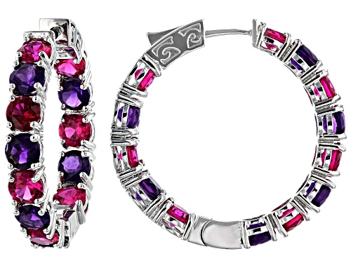 Photo of 7.65ctw Lab Created Ruby with 5.61ctw African Amethyst Rhodium Over Sterling Silver Hoop Earrings
