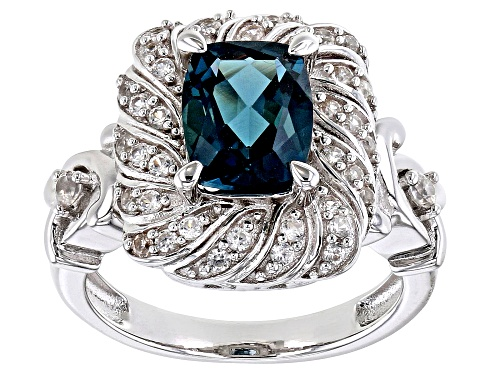 Photo of 2.16ct rectangular cushion London blue topaz & .59ctw round white zircon rhodium over silver ring - Size 8