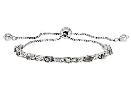 "Photo of 1.34ctw Platinum Color Spinel & White Diamond Accent Rhodium Over Silver Bolo Bracelet Adjusts 6""-9"""