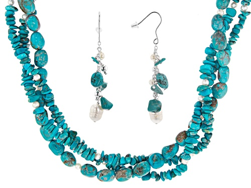 Photo of Mixed Shapes Turquoise & Cultured Freshwater Pearl Torsade Silver Necklace & Dangle Earrings Set