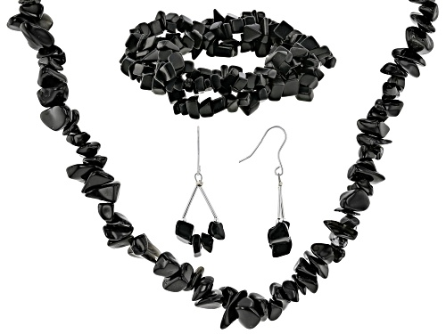 Photo of Free-form black onyx nugget necklace, bracelet and earrings rhodium over sterling silver set - Size 60