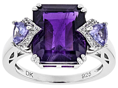 Photo of 5.27ct Emerald Cut Amethyst, .67ctw Tanzanite & .09ctw White Zircon Rhodium Over Silver Ring - Size 8