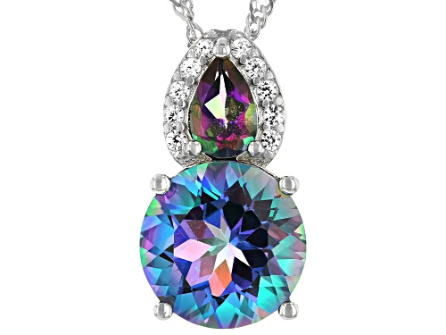 3.25ctw Blue Petalite, Mystic Fire(R) Green Topaz & White Zircon Rhodium Over Silver Pendant W/Chain