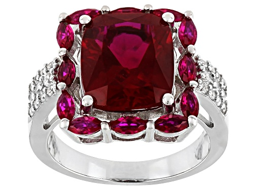 Photo of 6.37ctw Rectangular & Marquise Lab Created Ruby With .33ctw White Zircon Rhodium Over Silver Ring - Size 8