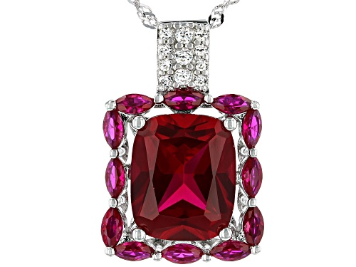 Photo of 6.37ctw Lab Created Ruby And .17ctw White Zircon Rhodium Over Silver Pendant With Chain