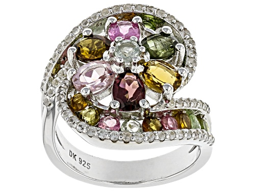 Photo of 3.03ctw Oval & Round Mixed-Color Tourmaline With .87ctw White Zircon Rhodium Over Silver Bypass Ring - Size 8