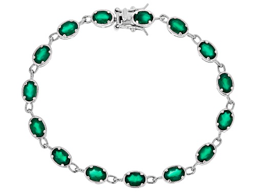 Photo of 6x4mm Oval Green Onyx Rhodium Over Sterling Silver Bracelet - Size 8