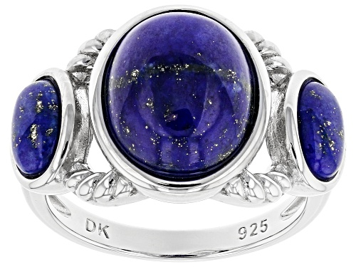 12x10mm & 7x5mm Oval Lapis Lazuli Rhodium Over Sterling Silver 3-Stone Ring - Size 8