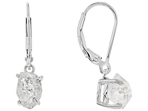 Photo of Free-Form Doubly Terminated Quartz Rhodium Over Sterling Silver Dangle Earrings