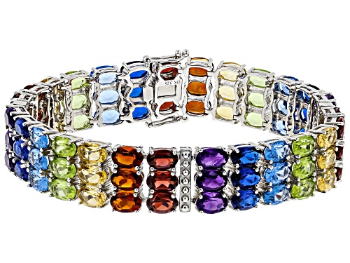 Photo of 35.21ctw Oval Mixed-Color Multi-Gemstone Rhodium Over Sterling Silver Rainbow Bracelet - Size 8