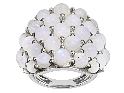 Photo of Round Rainbow Moonstone Rhodium Over Sterling Silver Cluster Ring - Size 8