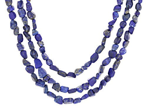 Photo of 5X8mm Lapis Lazuli Nugget Sterling Silver 3-Strand Necklace - Size 20