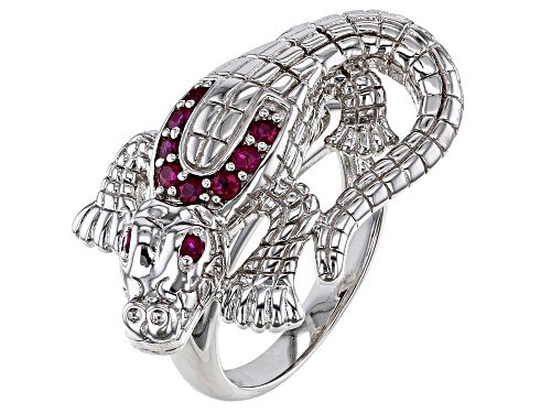Photo of .28ctw Round African Ruby Rhodium Over Sterling Silver Alligator Ring - Size 8