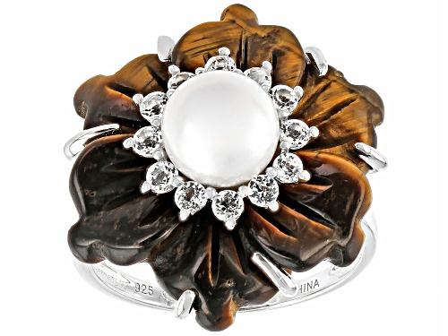 Photo of 20MM HAND CARVED TIGERS EYE, 7-8MM CULTURED FRESHWATER PEARL & 1.80CTW  WHITE TOPAZ SILVER RING - Size 7