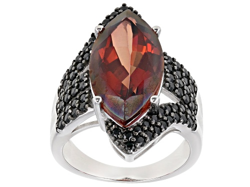 Photo of 5.75ct Marquise Red Labradorite With 1.19ctw Round Black Spinel Rhodium Over Silver Ring - Size 7