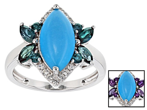Photo of 14x7mm Sleeping Beauty Turquoise, .94ctw Lab  Alexandrite & White Zircon Rhodium Over Silver Ring - Size 8