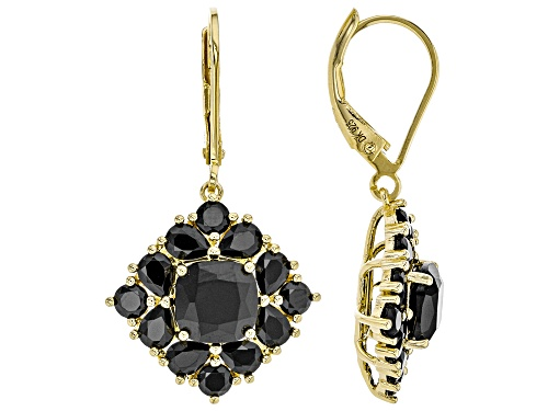 Photo of 5.94CTW MIXED SHAPES BLACK SPINEL 18K YELLOW GOLD OVER STERLING SILVER EARRINGS