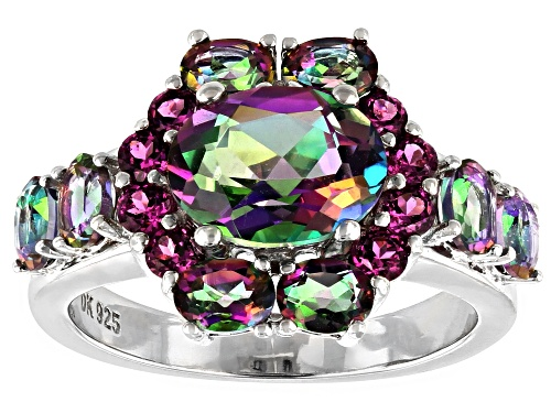 Photo of 3.46ctw Oval Mystic Fire(R) Green Topaz & .61ctw Rapsberry Color Rhodolite Rhodium Over Silver Ring - Size 9