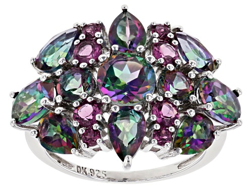 Photo of 5.78ctw Mystic Fire(R) Green Topaz & .68ctw Raspberry Color Rhodolite Rhodium Over Silver Ring - Size 7