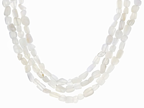 Photo of 8x5mm White Moonstone Nugget Sterling Silver 3-Strand Necklace - Size 20