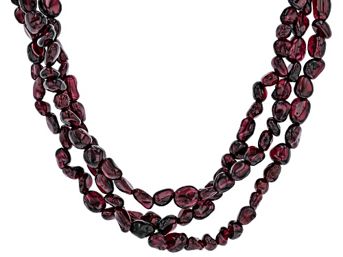 Photo of Rhodolite Garnet Sterling Silver 3-Row Necklace - Size 18