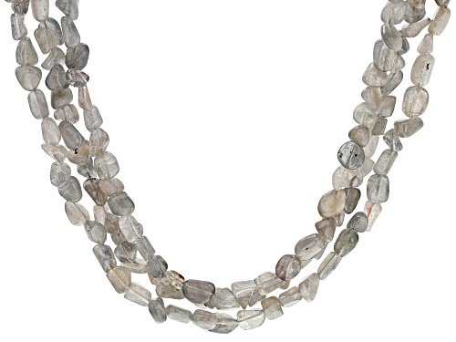 Photo of Labradorite bead, 3-row rhodium over sterling silver necklace. - Size 18