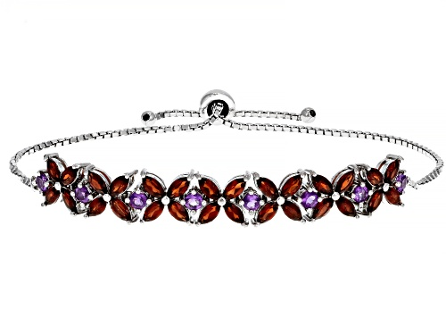 Photo of 3.78ctw Vermelho Garnet™ with 0.72ctw Amethyst Rhodium Over Silver Bolo Bracelet