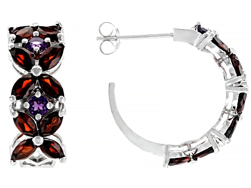 Photo of 2.16ctw Vermelho Garnet™ with 0.54ctw Amethyst Rhodium Over Silver Hoop Earrings