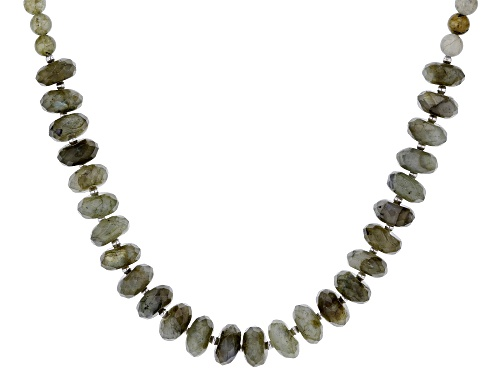 Photo of Labradorite faceted rondelle bead, rhodium over Sterling Silver Necklace - Size 18
