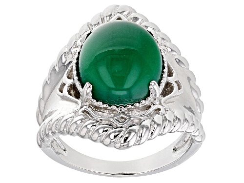 Photo of 12X10mm Oval Cabochon Green Onyx Rhodium Over Sterling Silver Solitaire Ring - Size 7