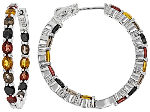 Photo of 5.60ctw Oval Multi-Color Gemstone Rhodium Over Sterling Silver Inside/Outside Hoop Earrings