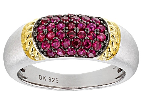 Photo of .61ctw Round Lab Created Ruby Rhodium & 18K Gold Over Silver Two-Tone Satin Finish Band Ring - Size 7