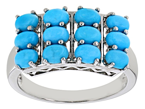 Photo of 4x3mm Oval Sleeping Beauty Turquoise Rhodium Over Sterling Silver Three-Row Band Ring - Size 7