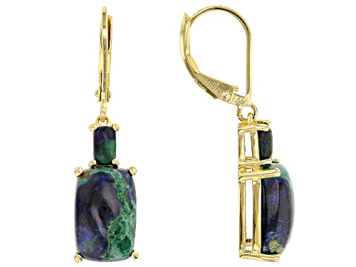 Photo of CUSHION AZURMALACHITE 18K YELLOW GOLD OVER STERLING SILVER DANGLE EARRINGS
