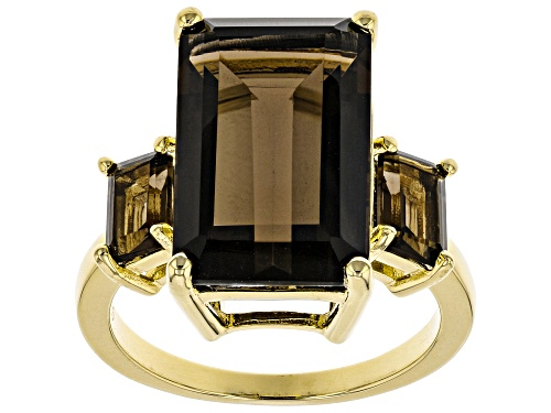Photo of 8.95ctw Emerald Cut Smoky Quartz 18k Yellow Gold Over Silver 3-Stone Ring - Size 8