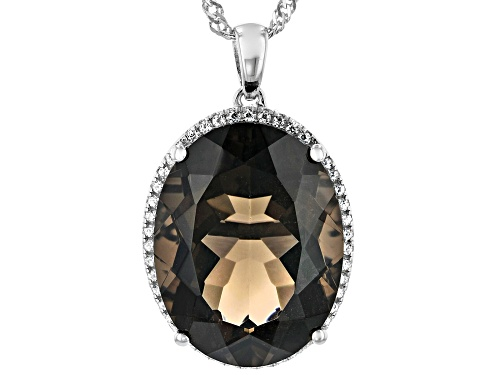 Photo of 18.28ct Oval Smoky Quartz and .39ctw Round White Zircon Rhodium Over Sterling Silver Pendant W/Chain