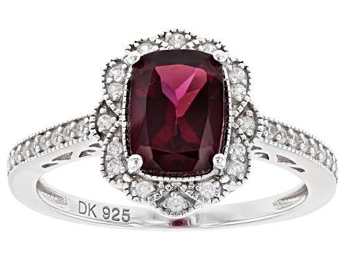 Photo of 1.70ct Rectangular Cushion Raspberry Color Rhodolite & .15ctw White Zircon Rhodium Over Silver Ring - Size 8