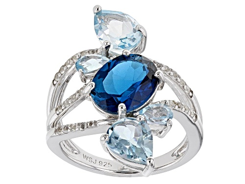 Photo of 5.67CTW MIXED SHAPES LONDON BLUE TOPAZ, SKY BLUE TOPAZ & .15CTW WHITE TOPAZ RHODIUM OVER SILVER RING - Size 7