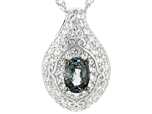 Photo of .76ct oval platinum color spinel & .96ctw white zircon rhodium over sterling silver pendant w/chain